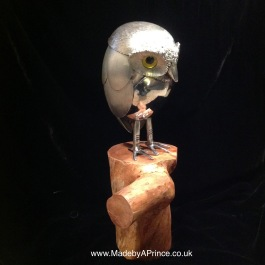 Twit - Little Owlet perched on cherry log - Cutlery with Glass Eyes